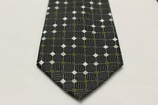 VAN HEUSEN - BLACK GRAY OLIVE GREEN - GEOMETRIC PATTERNED - HAND MADE NECK TIE!