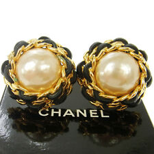"""Authentic CHANEL Vintage CC Logos Imitation Pearl Earrings 1.6 """" RK11746"""