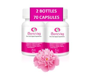 Boric Acid Suppositories Capsules   70 Capsules   600mg  With 2 Free Applicators