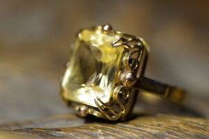 Bezaubernder Jugendstil Damenring 585er Gelbgold Citrin Gr:54 Juwelierarbeit
