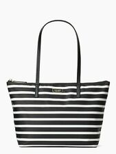 Kate Spade Hayden Sailing Stripe Handbag Black White Nylon Bag Purse NWT