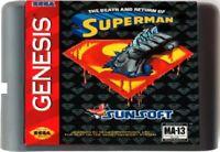 The Death And Return Of Superman (1995) 16 Bit Game Card For Sega Genesis System