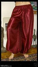 Harem Pants Belly Dance Satin Burgundy