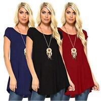 Isaac Liev Women's 3-Pack Flowy Short Sleeve Tunic Top, Black, Size Medium n9ok