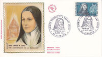 Enveloppe 1er jour FDC Soie 1973 Naissance de Sainte Thérèse l'enfant Jésus