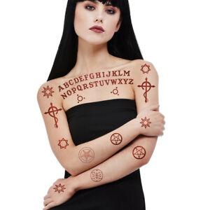 Halloween Tattoo Ouija Satanic Letters Fancy Dress Accessory