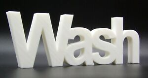 """""""Wash"""" Word Ornament in Arial Font 7x20.5x1.5cm - Various Colours"""