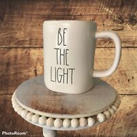 Rae Dunn Be The Light White With Blue Interior Mug Large Letters Brand New