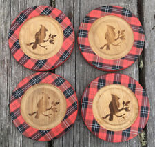 Set 4 Burned Wooden Plaid Rubber Cardinal Drink Coasters Holiday Luck 4�