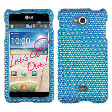For MetroPCS LG Spirit 4G Crystal Diamond BLING Hard Case Phone Cover Blue Dots