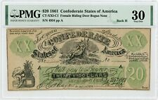 "1861 XX1-C1/Back H $20 ""FEMALE RIDING DEER"" Confederate Fantasy Note - PMG VF 30"