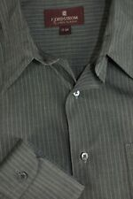 Nordstrom Men's River Stone Brown Striped Cotton Dress Shirt 17 x 34