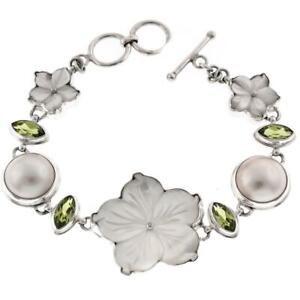 ADORABLE MOTHER OF PEARL FLOWER PERIDOT MABE PEARL 925 STERLING SILVER bracelet