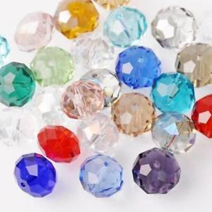 10 Stück 16x12mm Große Rondelle Facettiert Kristall Glas Lose Perlen 50+ Farben