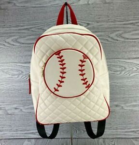 Luv Betsey Johnson BASEBALL Adjustable Backpack Red White EUC