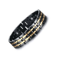 Mens Magnetic Bracelet Stainless Steel Gold Stripe with Link Removal Tool Black