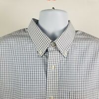 L L Bean Slightly Fitted Mens White Blue Check L/S Dress Button Shirt Sz XL-REG