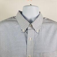 L L Bean Slightly Fitted Mens White Blue Check L/S Dress Button Shirt Sz XL-REG