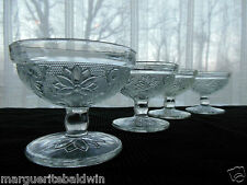 Tiara Indiana Glass 4 Clear Sandwich Ice Cream Footed Dessert Cups Sherbets