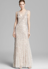 4e1439571a Aidan Mattox Champagne Blush Natural Sleeveless V-Neck Beaded Gown Illusion  sz 6