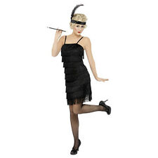 Ladies 1920s Black Flapper Fancy Dress Costume 20s Outfit Smiffys 33451 L - Large