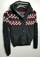SUPERDRY WOMENS CHUNKY CABLE KNIT HOODED CARDIGAN JACKET JUMPER S GREY RED 287