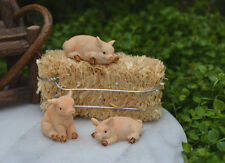 Miniature Dollhouse FAIRY GARDEN Accessories ~ PIG Set of 3 Mini Resin Pigs NEW
