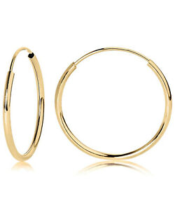 14k Yellow Gold Endless Tubular Hoop Earrings,Continuous Endless Hoops (Unisex)