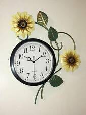 Harvest Sunflower Metal Wall Clock Blossoms Leaves Country Sunflower Clock