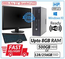 "FAST HP 800 G1 DT PC SET Intel Core i5-4th Gen @3.10GHz Win 10 WiFi Dell 22"" LCD"