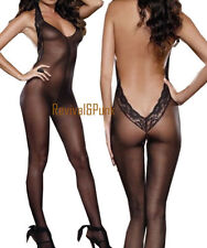 Sexy Black Open Crotch Mesh /Lace BodyStocking/Catsuit Lingerie S 6-10