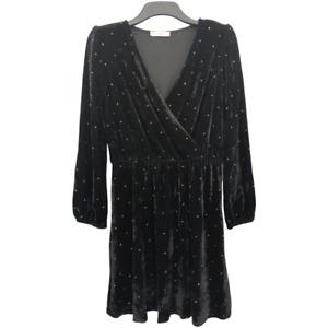 BNWT Oasis Black Velvet Wrap Front Gold Bead Embellished Evening Dress Large L