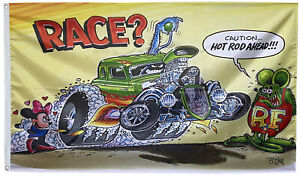 Rat Fink Race car Flag banner 3x5ft Roth Hot Rod style banner