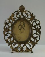 Vintage Antique Victorian Ornate Brass Gold Easel Picture Frame 11.5 x 9 Heavy