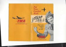 "TWA Airlines 1951 ""your comfort aloft"" onboard info booklet -4"" x 6 1/2"" 24p."