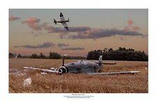 """WWII WW2 RAF RAAF Spitfire / Luftwaffe Bf109 Aviation Art Photo Print - 12""""X18"""""""