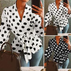 UK Women Polka Dot V Neck Wrap Shirt Ladies OL Long Sleeve Sexy Tops Blouse Size
