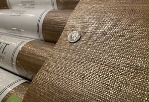 8YD THIBAUT Gulf Shore Khaki Golden Raffia Fine Weave Grasscloth Wallpaper