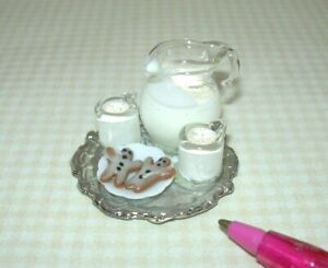Miniature Eggnog Pitcher, Mugs, Cookies on Silver Tray: DOLLHOUSE Christmas 1:12