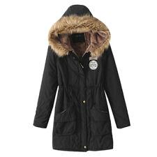 Womens Warm Long Coat Fur Collar Hooded Jacket Slim Winter Parka Outwear Coats G