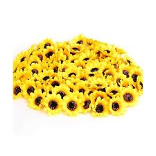 """KINWELL 100pcs Artificial Silk Yellow Sunflower Heads 1.8"""" Fabric Floral for ..."""