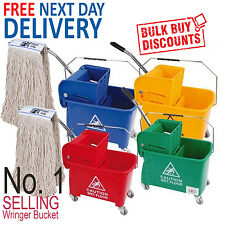More details for kentucky mop bucket wringer & 2 mop heads traditional industrial office mopping