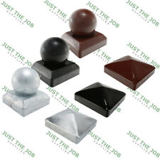 METAL FENCE POST CAPS | Oxide Red / Galvanised / Black | ALL SIZES 50 75 100mm