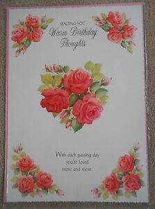 Sending you warm Birthday Thoughts - Rose Heart design - A4 Happy Birthday Card