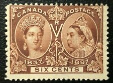 CANADA 1897 # 55 QUEEN VICTORIA 'JUBILEE' ISSUE 6c YELLOW BROWN  MINT HINGE VG