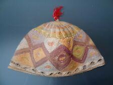 ancien bonnet en laine coiffe islamique artisanat ouzbekistan kippot de boukhara