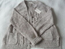 Fat Face Chloe Sea Blue Marl Cable Contrast Knit Cotton Blend Cardigan 6 - 18 16