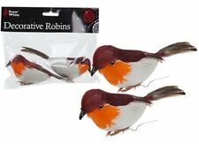 2 x Robins Decoration Wire Christmas Model Artificial Birds Feather Tree 513118