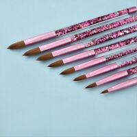 Pink Kolinsky Sable Hair Acrylic Nail Brush Liquid Glitter Handle Manicure Tool