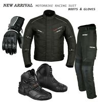 Motorcycle Riding Suit Armored Bikers Motorbike Leather Gloves Shoes Short Ankle